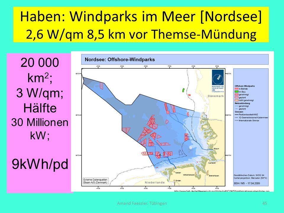 Haben: Windparks im Meer [Nordsee] 2,6 W/qm 8,5 km vor Themse-Mündung